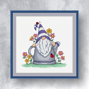 SPRING  GNOME - Counted cross stitch kit (with DMC threads)