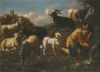 """perfect oil painting handpainted on canvas """"A Goatherd with His Flock """"@NO5818"""