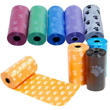 1Roll/15x Pet Dog Printing  Waste Poo Poop Bag Degradable Clean-up Dispenser FD