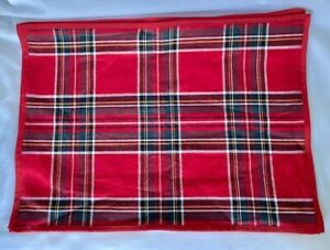 """4 Williams Sonoma  Red Holiday Plaid PLACEMATS  20"""" x 14"""" NWOT 55% LINEN 45% COT"""