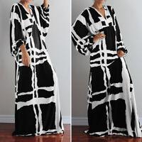 Bouffant Femme Loisir Manche Longue Col V Imprimé Bohème Robe Dresse Maxi Plus