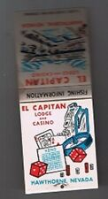 El Capitan Lodge Casino Unused Narrow Front Striker Matchbook Hawthorne Nevada