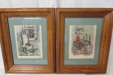 Set of  2 Cross Stitch Framed Pictures Matted Country Cottage Home Pine Frames