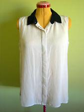 Ladies Womens Sleeveless Cream Button Up Co9llar Shirt Blouse Top Now Size 18