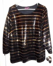 New Jessica London Plus Size 20 Lined Black & Gold Striped Holiday Sequin Top