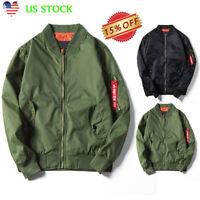 Men Military Army Flight Bomer Jacket Waterproof Zipper Coat Outwear Windbreaker