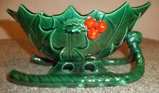Vintage Lefton Christmas Sleigh Candy Dish Green Holly Leaf Design, Japan, #1346