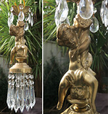 Cherub Lamp Chandelier Crystal prism tole light fixture swag lamp plugin 1of3