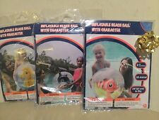 """3 x New inflatable Beach Ball with 3D Animals Inside Character 24"""" In Dia"""