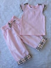 6 Months 12Months Authentic Burberry Set Girl Pants Top Pink Summer Check Baby