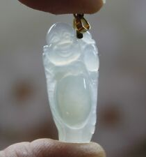 18K Certified (A) Genuine Natural Untreated Icy Jadeite JADE Buddha Pendant #804