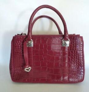 Brighton Emerson Lipstick Red Croc Leather Embossed Tote Handbag