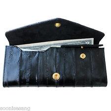 Genuine Eel Skin Leather Button Wallet Purse (Black)