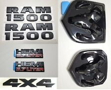 7PCS SET: Black Dodge RAM 1500 + 4X4 + HEMI Emblem Badge LOGO LETTERS NAMEPLATE