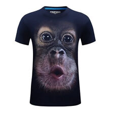 3D Gorilla Monkey Funny Printed Tee Cotton Mens T-Shirts Short Sleeve Top Shirt