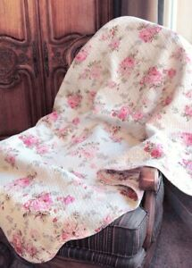 Spring Peony Pink Red Floral Printed Reversible Cotton Quilted Throw
