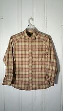 TIMBERLAND MEN'S SMALL BUTTON FRONT SHIRT BEIGE PLAID L/S CONVERTIBLE SLEEVES
