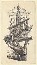 Ingeniero civil ex libris j. fernández saez/mota miranda c2 engraving #188