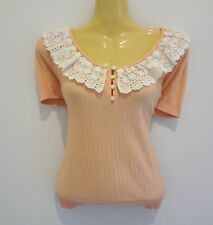 Gorgeous apricot cotton lace-trim top by high-end brand REVIEW sz10 AS NEW!