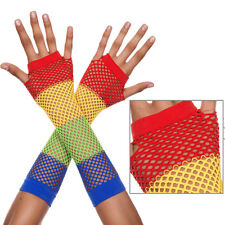 Rave Rainbow Fishnet Long Fingerless Gloves Disco Roller Rink Halloween Clubwear