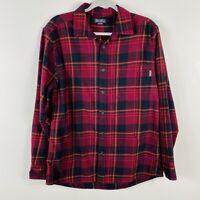 Eddie Bauer Size Medium Plaid Flannel Button Shirt Red Black White Long Sleeve