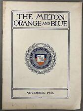 1930 Milton Academy ORANGE & BLUE magazine, Massachusetts