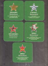 NEW 2017 -- 5 Différents   Sous Bock Beer Coaster Bier Deckel HEINEKEN STAR