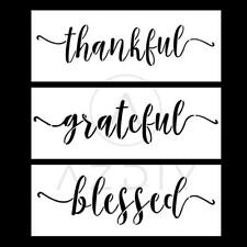 Grateful Thankful Blessed Stencil Set - 3 Reusable Sign Stencils For Painting