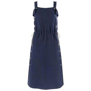 COURREGES c.1970's Navy Blue Button Up Tie Cinch Waist Sleeveless Jumper Dress