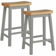 Pair of Hand Painted Curved Seat Wooden Bar Stools - Grey