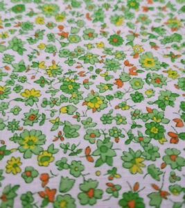 Vtg White Cotton Fabric Bright Small Calico Floral Print Yellow Flowers Green