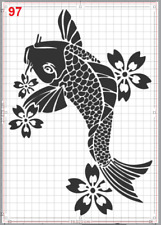 Big Koi Fish in pond Stencil MYLAR A4 sheet strong reusable Craft ART Wall DECO