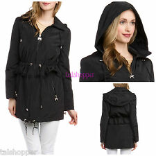 BETSEY JOHNSON Black Peplum Anorak Jacket Trench Coat NEW L Hoodie $170 Large 12