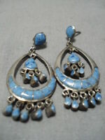 BEST VINTAGE ZUNI NAVAJO LAPIS INLAY STERLING SILVER CHANDELIER EARRINGS OLD