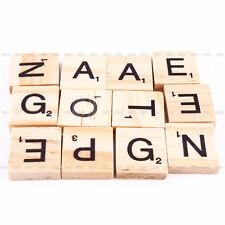 100x lettre en Bois Noir SCRABBLE carreaux Artisanat Alphabet Jeux de société Fr