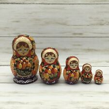 Russian Matryoshka Nesting Dolls Fruit Harvest Matte Finish Doll Set