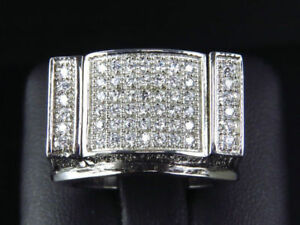 Mens 3.00 Ct Round Diamond Pinky Ring Wedding Band With 14K White Gold Finish