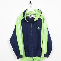 Vintage 90s ADIDAS Small Logo Zip Up Polyester Hoodie Sweatshirt Navy Blue | XS