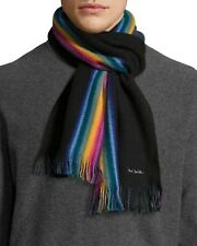 PAUL SMITH Multi Stripe MULTI EDGE Grey Black Reversible Scarf Rainbow Edge New