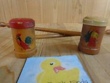 Vintage Rooster Salt and Pepper Shakers Long Handles Wood Patina Japan