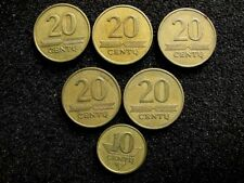 LITHUANIA 1997, 20 & 10 Centu 6 Coins Set. Fine Condition