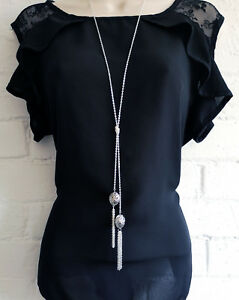"""Stunning 30"""" long silver tone knotted lariat chain & tassel pendant necklace DH1"""
