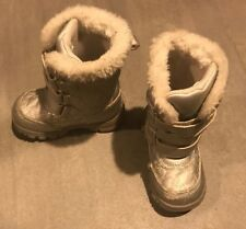THE CHILDRENS PLACE SILVER WINTER SNOW BOOTS SHOES GIRLS 7 Hook & Loop Gray Grey