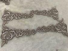 4pcs Grey Flower Venise Lace Embroidery Applique Motif Costume 11*7.5cm Trim