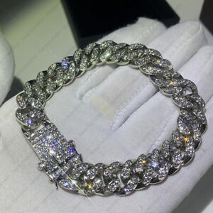 3.50 tcw Moissanite Round Cuban Link Chain Miami Hip Hop Bracelet In 925 Silver