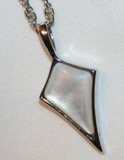 Delightful Petite White Marbled Arrow Silvertone Pendant Necklace  ++++