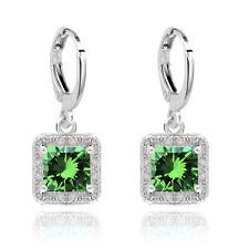 Vintage Style Silver Dark Green Zircons Rhinestone Hoops Drop Earrings E949