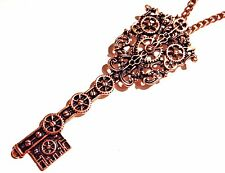 ANTIQUED COPPER SKELETON KEY NECKLACE large gears steampunk chain pendant 5W