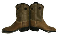 Vintage Acme Tan Leather Buckaroo Cowboy Boots Youth Size 4 D