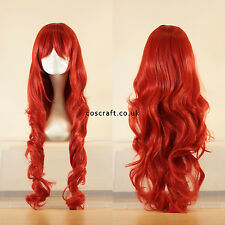 80cm long wavy curly cosplay wig in red, UK seller, Jeri style